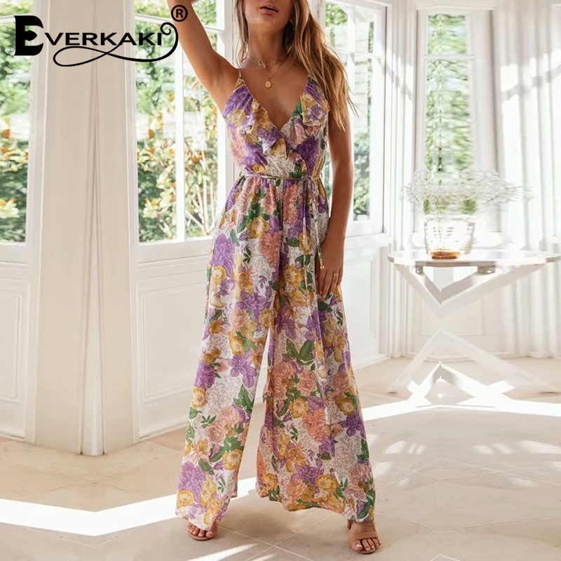 Everkaki Rompers Jumpsuits Boho Floral Print Ruffles Sashes Summer Ladies Slip Jumpsuits Rompers Female 2020 Spring New Fashion