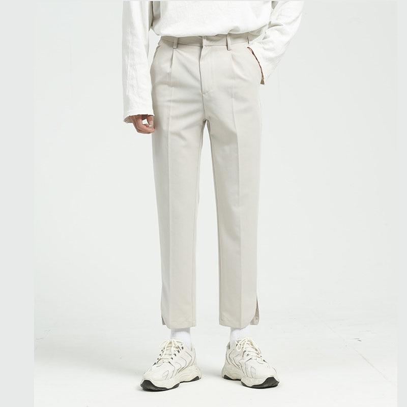 Men Solid Color Casual Ankle Length Pencil Suit Pant Male Korea Japan Style Streetwear Pant Black White Trousers