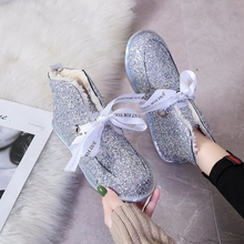 Women Boots 2019 Winter Snow Boots Female Boots Warm Sequin Flat with Women Shoes