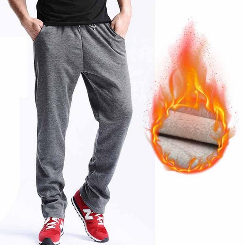 FALIZA New Men's Winter Pants Thick Fleece Jogger Straight Mens Pants Mirco Velvet Sweatpants Men Joggers Casual Pants CK-D