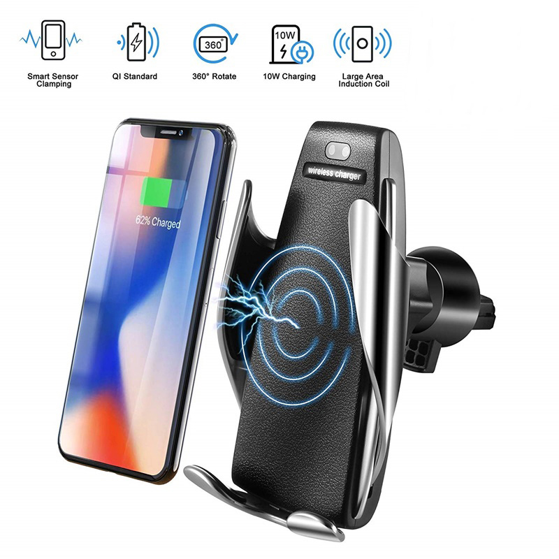 Wireless Car Charger S5 Automatic Clamping fast usb wireless car charger quick charge 3.0 with infrared sensor for iPhone xs max image