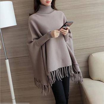 Maternity Sweater Womens Sweater Cloak Crochet Knit Batwing Wrap Fringe High Collar Batwing Tassels Poncho Cape Winter Knit фото