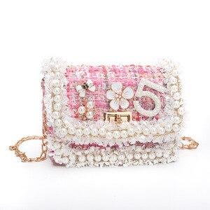 Image 3 - Korean Style Women Woolen Cross Body Bags Cute Girls Princess Purses and Handbags Baby Pearl Clutch Purse
