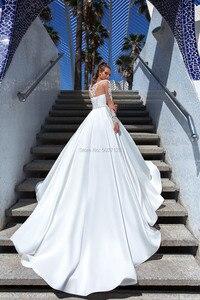 Image 3 - Vestido De Noiva EEN Lijn Lange Mouwen Trouwjurken Kant Applicaties Scoop Lace Up Hof Train Bridal Wedding Gown Custom