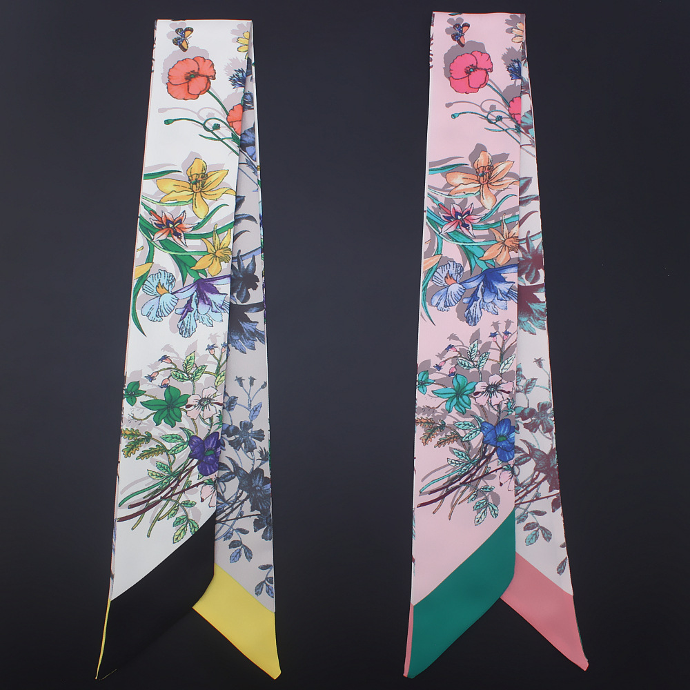 2020 New Summer Fashion Girl Neckerchief Small Ribbon Hair Scarfs Headband Bag Silk Scarf For Women