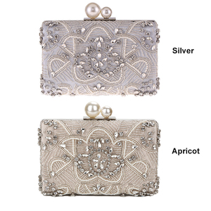 Image 5 - מישמש כסף קריסטל מצמד שקיות בעבודת יד חרוזים פנינה חתונת מצמד ארנק יוקרה תיקי נשים כתף שקיות ZD1361