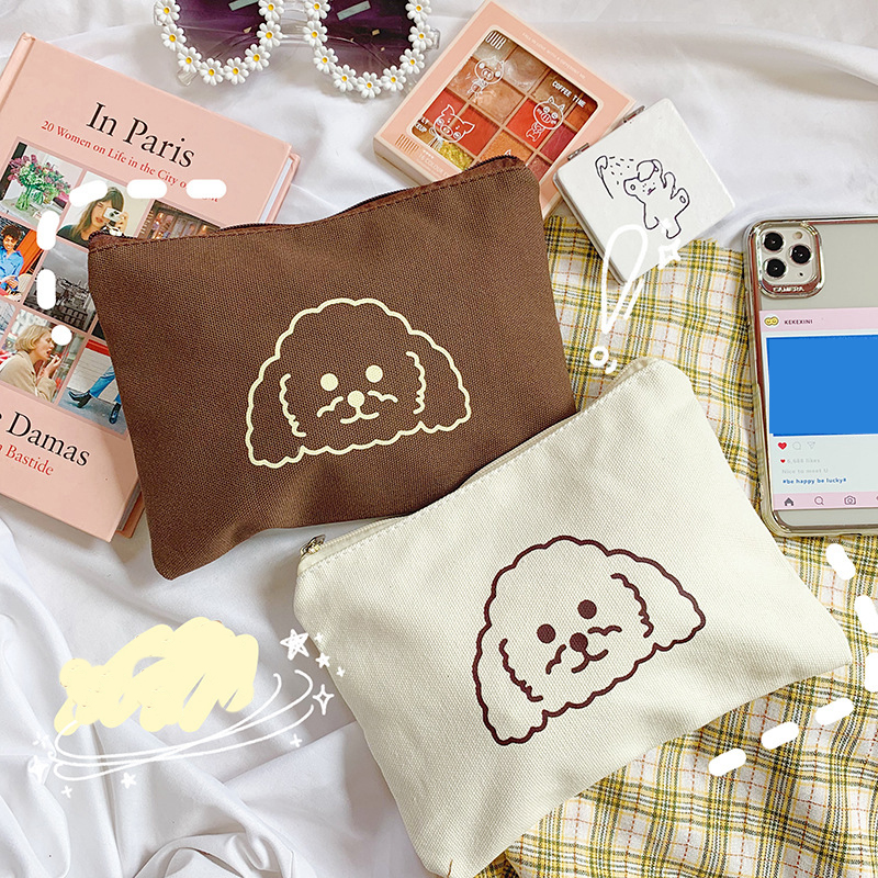 Cartoon Animal Prints Dog Cosmetic Bag Makeup Case Wash Organizer Toiletry Make Up Travel Girl Beauty Women Pouch Storage Bags