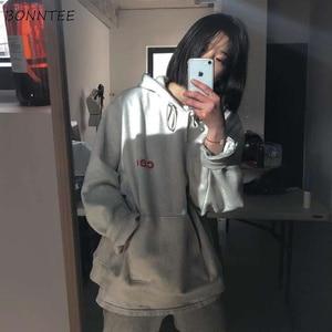 Image 3 - Hoodies Women Harajuku Plus Velvet All match Letter Printed Womens Sweatshirts Long Sleeve Hooded Korean Style Ladies Pullover