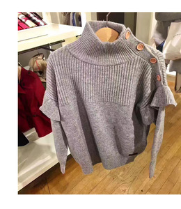 Image 5 - Baby Girl Sweater Ribbed Turtleneck for Girls 2020 Winter Tops Clothes Kids Cardigan Toddler Pullover