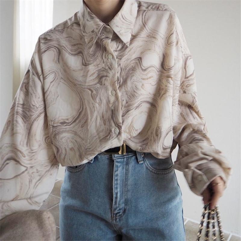 Vintage Loose Turn-down Collar Full Sleeve Women Blouse Top Shirt