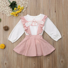 2Pcs Kids Baby Girl Dress Set Toddler Girls Long Sleeve Tops T-shirt Owl Pattern Print Strap Skirt Outfit Autumn Winter Clothes casual toddler kids baby boy girl clothes to do list long sleeve t shirt tops pant 2pcs outfit spring autumn suit tracksuit 1 6y