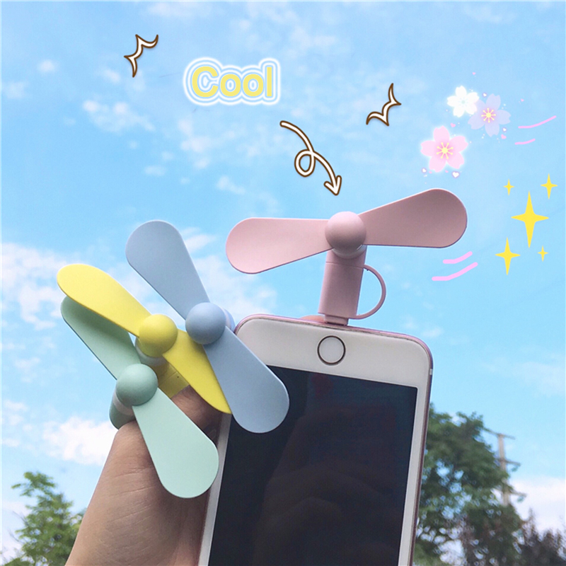 2 IN 1 Portable Cell Phone Mini Fan Travel Cooling Cooler For Micro USB Type-C For IPhone Android 5 5S SE 6 6S Plus 8 Pin Phones