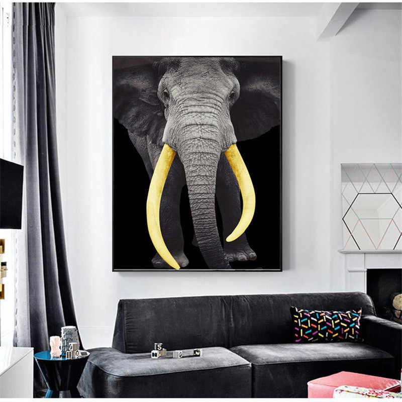 Golden Ivory ช้างภาพวาดผ้าใบ Nordic โปสเตอร์และพิมพ์ภาพผนังศิลปะสำหรับห้องนั่งเล่นตกแต่งบ้านไม่มีกรอบ