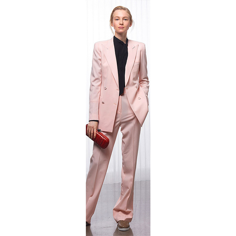 Jacket+Pants Women Business Suits Pink Double Breasted Female Office Uniform Ladies Formal Trouser Suit 2 Piece Set Custom