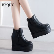 BYQDY Platform Ankle Winter Shoes Women Boots Height Increasing Ladies Shoes Patent Leather Fashion Thick Slip-on Boots Autumn