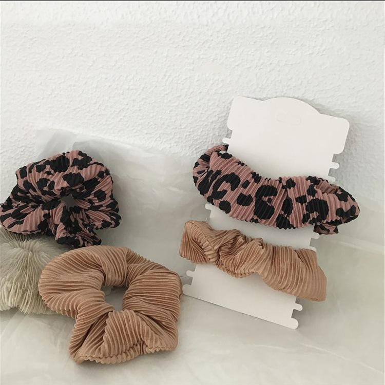 Free Shipping Fashion Leopard Pleated Women Hair Scrunchies Korea Style Girl's Hairbands Ponytail Holder Hair Accessories