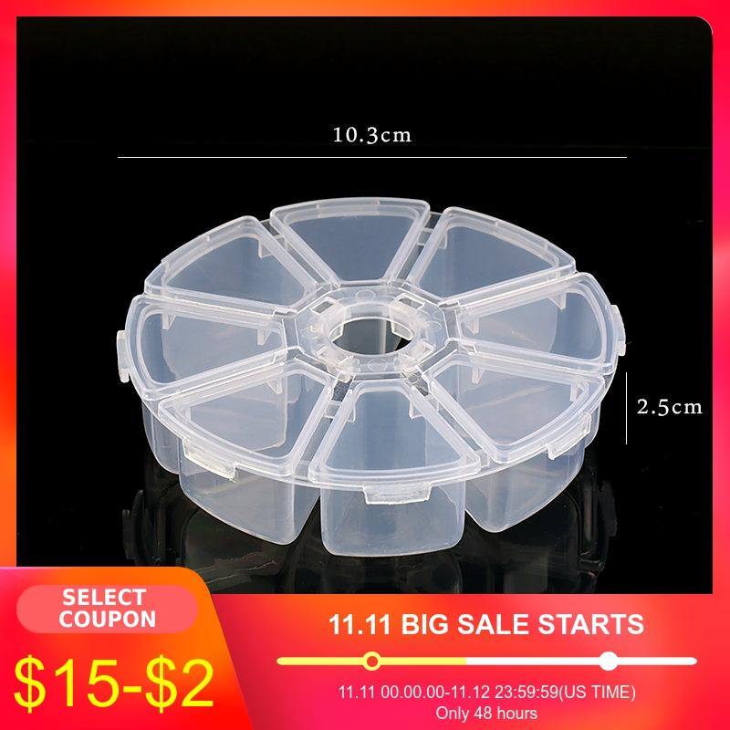 6 Slots/8 Slots Round Compartment Plastic Storage Box For Beads Earrings Adjustable Jewelry Container Transparent Box Case