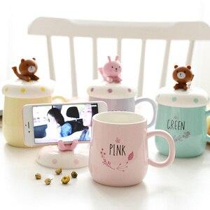 Image 2 - Ousirro tasses créatives pour Couple en céramique, tasses de dessin animé danimaux, tasse à café, lait, tasse, couvercle, cuillère