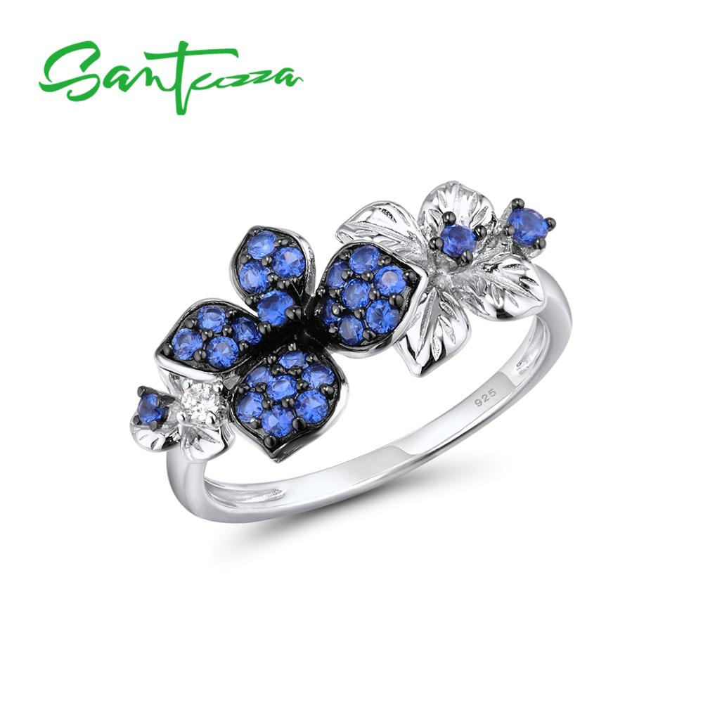 SANTUZZA Silver Rings For Women Genuine 925 Sterling Silver Delicate Blue White Butterfly Ring Trendy Anniversary Fine Jewelry