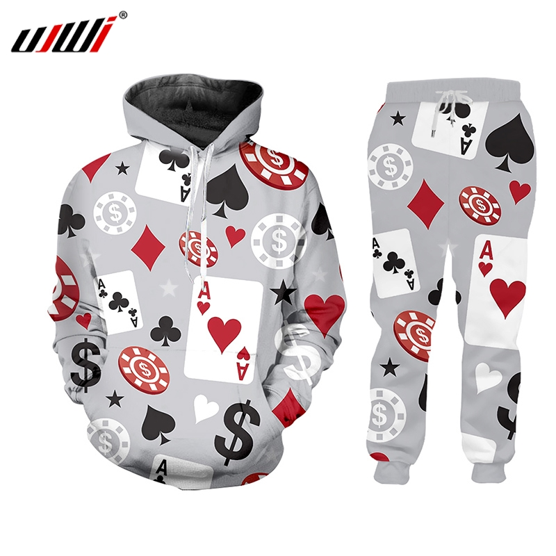 UJWI 3D Printed Poker Gambling Short Sleeve Tracksuit Casual Sweatshirt Pants Hip Hop Top Playing Cards Harajuku Zipper Pullover