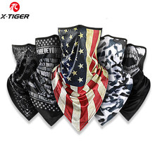 X-Tiger Cycling Mask Ourdoor Hiking Fishing Camping Face Mask Cold Ice Silk Printed Scarf Soft Breathable Sunscreen Bicycle Mask