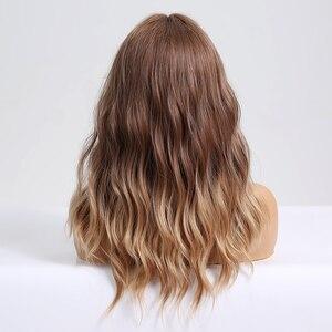 Image 4 - ארוך גלי סינטטי פאות עם פוני Ombre חום פאות עבור נשים טבעי יומי מסיבת שיער פאות חום סיבים עמידים פאות