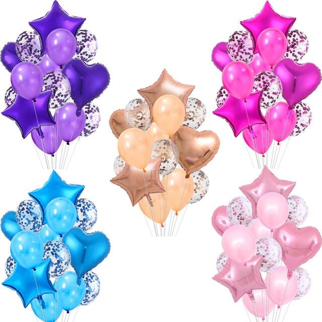 14 pièces Multi confettis ballon fête danniversaire Ballons or Rose hélium Ballons mariage garçon fille bébé douche fête décoration fournitures