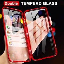 360 custodia per telefono in metallo ad adsorbimento magnetico completo per iPhone 12 Mini 11 Pro X XS Max XR 8 7 6 Plus Cover in vetro temperato a doppia faccia