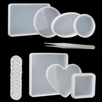 цена на 18Pcs Handmade Coaster Silicone Resin Mold Round Square Rectangle Heart Oval Bottom DIY Molds Kit Jewelry Making Tools