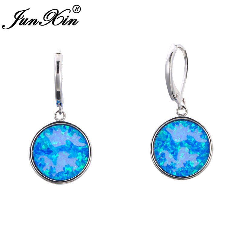 Unique Big Round Blue Fire Opal Earrings Silver Color Cute Animal Dolphin Hoop Earrings For Women Wedding Engagement Jewelry