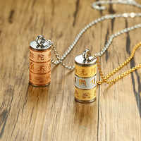 Tibetan Prayer Wheel Turner Buddhist Pendant Necklace for Men Stainless Steel Shurangama Mantra Gold Wish Male Jewelry 20 inch