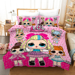 LOL Surprise 3pcs/ Sets Print Polyester Soft and Comfortable Bedding Set  (2*Pillow Case+1*quilt)  LoLs Baby Bed Cuna