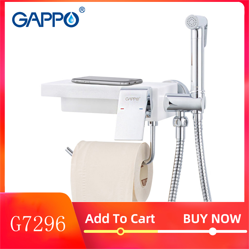 GAPPO Bidet Faucets Toilet Bidet Shower Sprayer Hygienic Shower Anal Plug  Water Taps Bathroom Paper Holder Shelf Holders G7296
