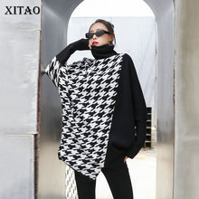 XITAO Fashion Houndstooth Sweaters for Women Loose Plus Size Bat Sleeve Turtleneck Pullover Women Irregular Wild Autumnn WJ1226