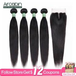 Aircabin Straight Bundles With Swiss Lace Closure Brazilian Remy Human Hair Extension Natural Color Fast Shipping Can Be Bleach
