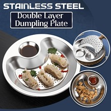 Round Double-layer Stainless Steel Dumplings Dish Plate Bowl Drain Tray Household Dumplings Buns Steaming Tray Kitchen Utensils