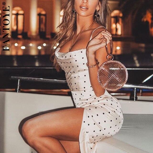 FANTOYE Spaghetti Strap Polka Dot Dress Women White Summer Sundress High Split Bodycon Party Dress 2020 Casual Holiday Vestidos