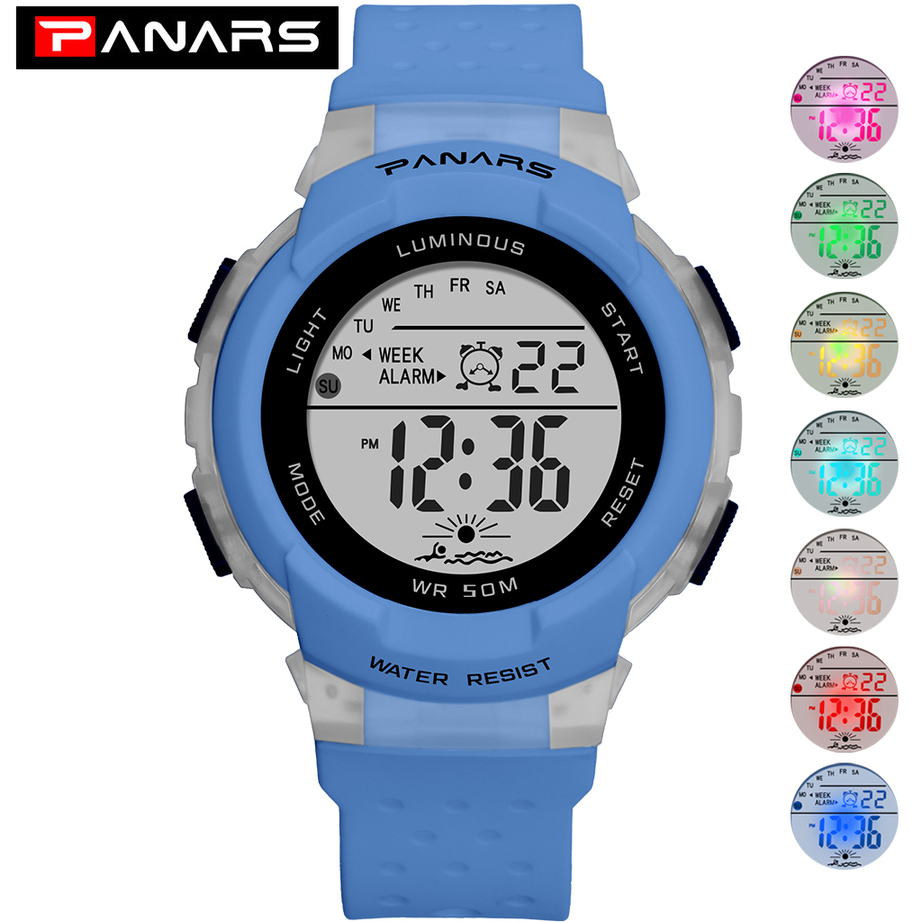 PANARS Sports Watch For Kids Children Digital Watches Colorful LED Night Lights Waterproof Baby Boy Wrist Watch Gifts For Girls
