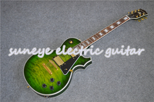 цена на Suneye Green Quilted Electric Guitar Gold Hardware Left Handed Guitar Custom Available Solid Mahogany Body