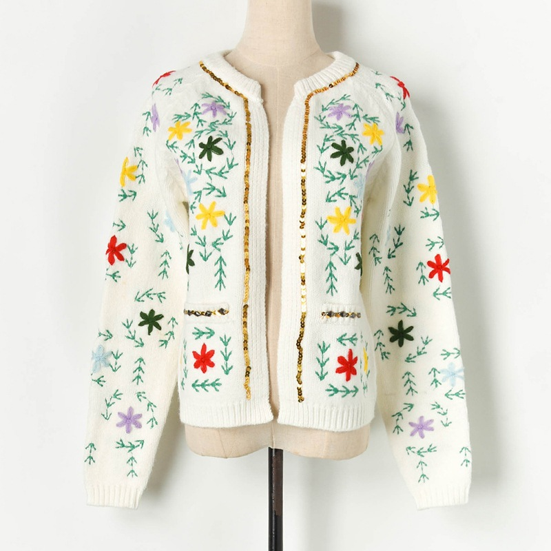 European Designer Women's Luxury Embroidery Cardigans Sequins Patchwork Outerwear Knitted Coats Sweaters Prairie Chic Jumpers