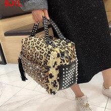 Luxus mode Niet strass frauen handtasche neue damen diamant tasche frauen schulter umhängetasche weibliche leoparden print taschen