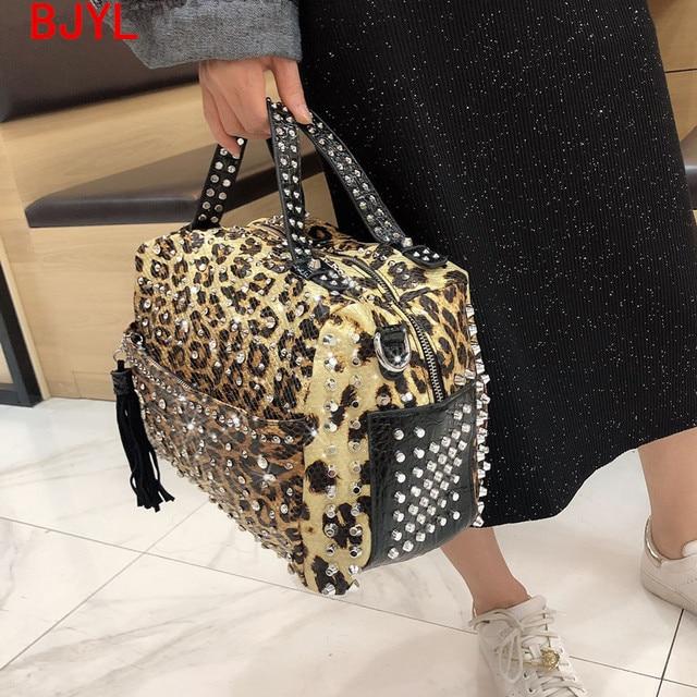 luxury fashion Rivet rhinestone womens handbag new ladies diamond bag women shoulder Messenger bag female Leopard print bags