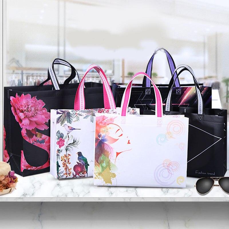 Hot Sale Idyllic Foldable Non-woven Fabric Shopping Bag Reusable Tote Pouch Women Travel Storage Handbag Bag DIY AD Customized