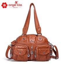 Angelkiss marca pu lavado bolsas femininas bolsas de ombro hobos bolsa para mulher alta qualidade sacos do mensageiro bolsa de couro