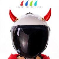 1pc capacete da motocicleta de canto motocross rosto cheio fora da estrada capacete diabo chifre decoração plástico acessórios chifre borracha