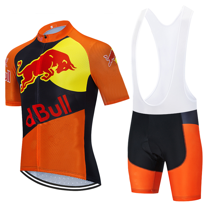 2020 Orange BULL Cycling Jersey Bibs Shorts SPORTSWEAR Ropa Ciclismo Mens Summer Quick Dry PRO BICYCLING Maillot Pants Clothing