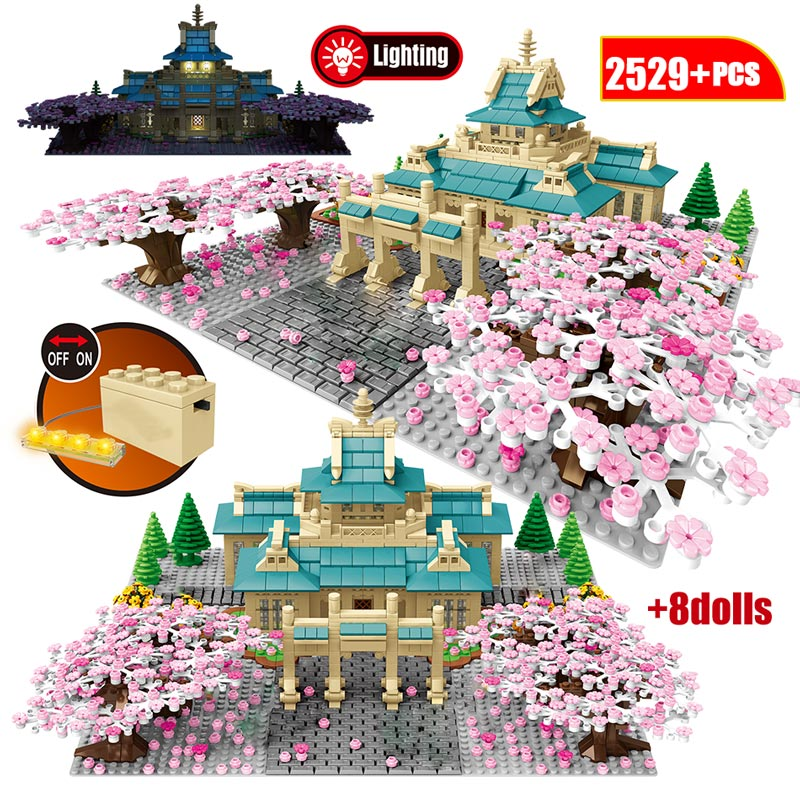 Cherry Blossom Model Building Blocks City View Tree House Flower Japan Tradition Architecture Education Bricks Toys For Kids image