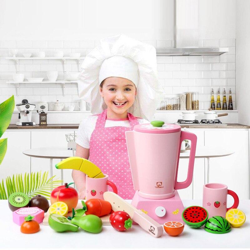 Children Wooden Kitchen Toys Pretend Play Simulation Electrical Appliances Juicer Miniature Food Fruit Kitchen Toys For Children