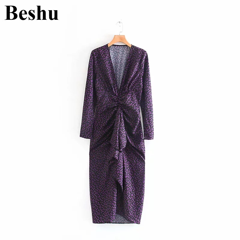 Fashion ZA <font><b>dress</b></font> <font><b>deep</b></font> <font><b>v</b></font> <font><b>neck</b></font> purple <font><b>sexy</b></font> dot print pleated long sleeve <font><b>dress</b></font> ankle-length <font><b>vesidos</b></font> muier image