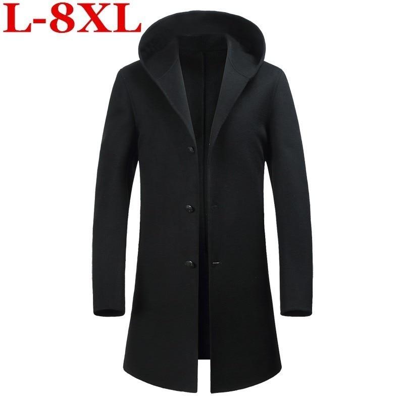 8XL 7X Autumn Winter British style men's wool coat New design Long trench coat Brand Clothing Top quality hooded woolen coat men